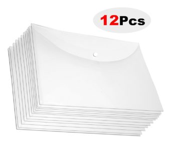 12 Pcs A4 Document Envelope Folder, Clear Transparent Thick PP Storage Bags ,Snap Button Organizer for Papers,Document, Business Cards, Office Stationery
