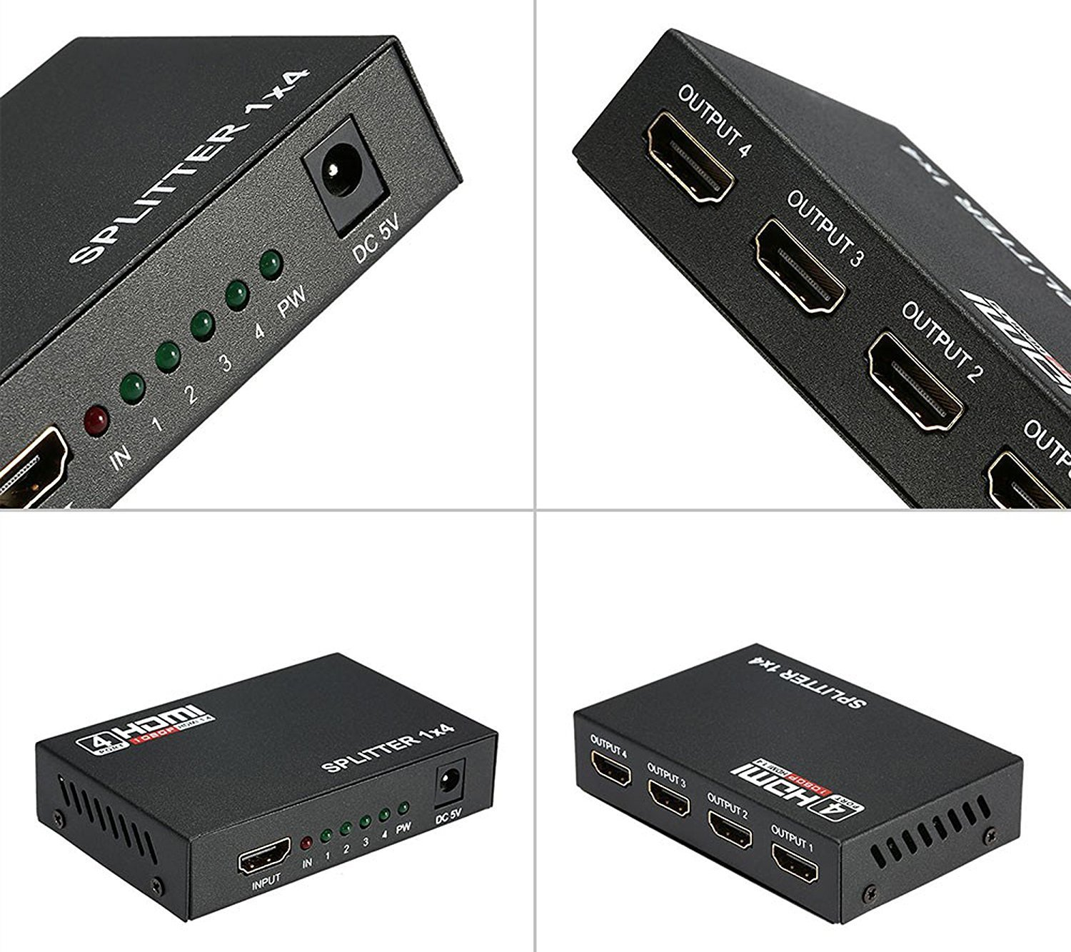 DAHSHA 1 x 4 HDMI Splitter 1 HDMI input to 4 HDMI output For