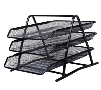 3 Tier File Document Letter Paper Tray Sorter Collection Office Desktop Organizer Holder Shelf Metal Mesh Black