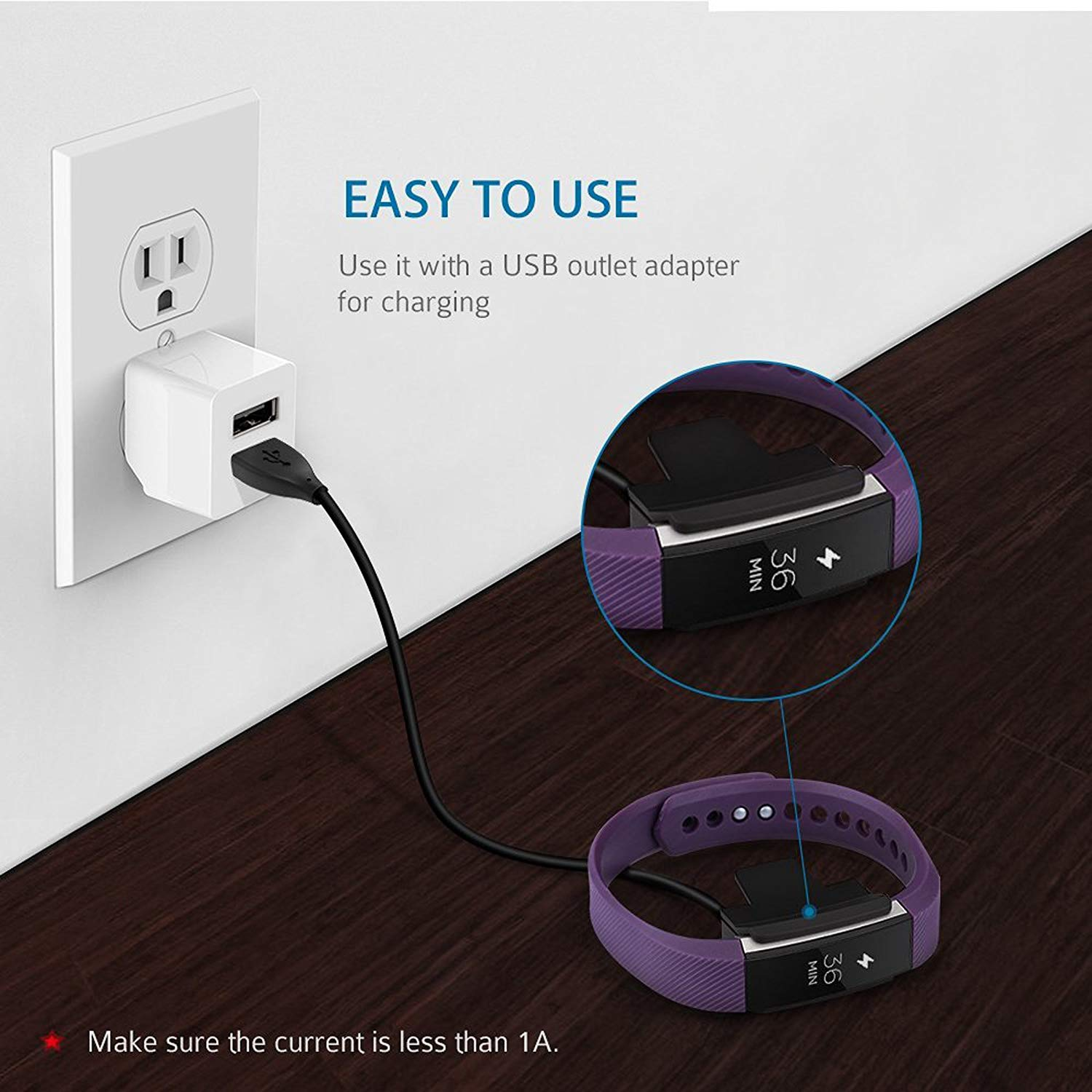 DAHSHA 30cm Replacement Fitbit Alta USB Charging Cable for Fitbit